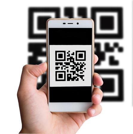 QR code payment transaction using mobile smartphone. Cashless concept