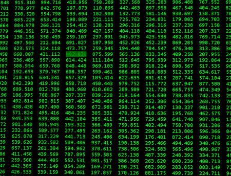 Financial data on a monitor as Finance data concept, background. Green financial figures on black background