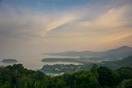 Panorama of Phuket coastline from viewpoint in the morning haze
