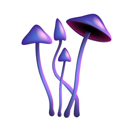 Hallucinogenic purple mushroom psilocybe on a thin leg isolated on white Illustration