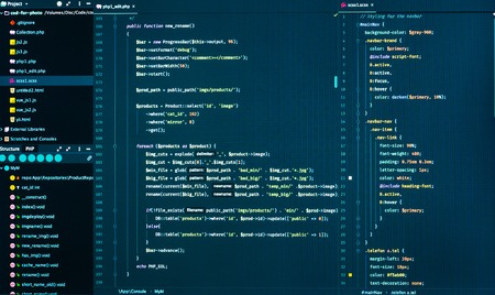 Web development code: CSS/SASS styles preprocessor script lines. Abstract screen of web developer
