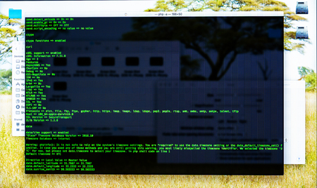 Command line interface on the desktop. Concept of the programmers work. Information line flow Stock Photo