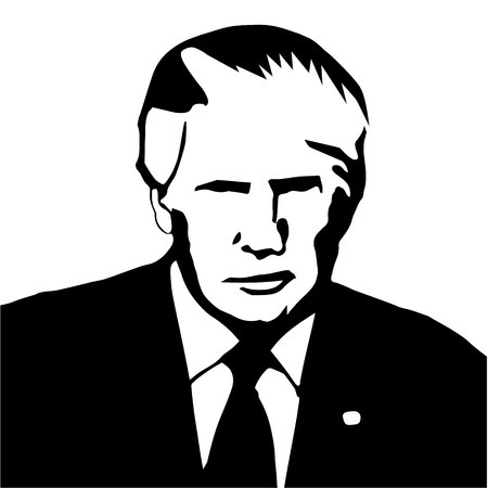 Donald Trump as president of United States of America black-white