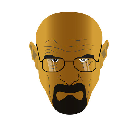 Face of heisenberg (Walter White) in glasses from Braking Bad serial
