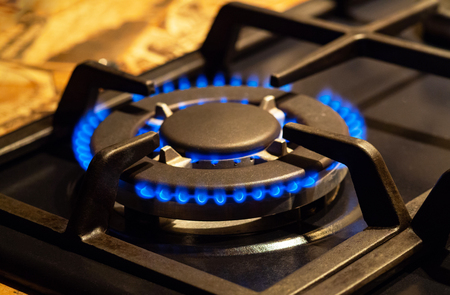 Blue gas burning. Gas flames. One gas camphor close up Stock Photo