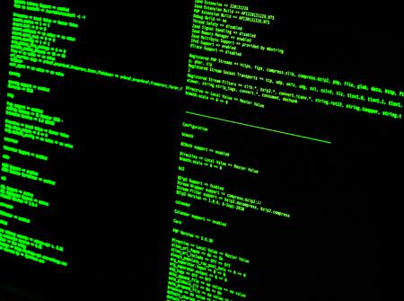 Código verde en la interfaz de línea de comandos. Shell bash de UNIX