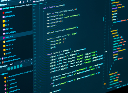 Software development. Software source code. Programming php code in code editor, close up Stok Fotoğraf
