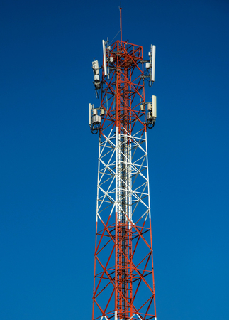 Cell tower for broadcasting and communication on clear blue sky