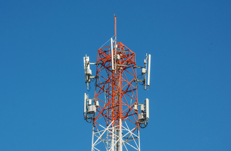 Cell tower for mobile broadcasting and communication close-up Banco de Imagens