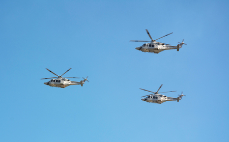 Medium-lift helicopters AW139 at Doha Stok Fotoğraf