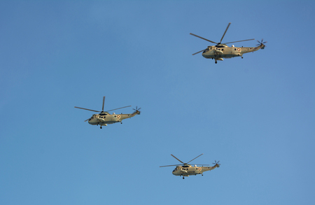 Westland Sea King Qatari aircrafts flying on military airshow Stock Photo