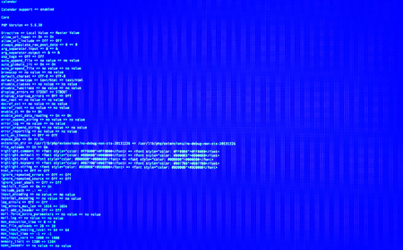 Code in command line interface on blue background.