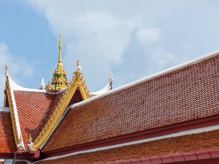 Red roof of thai temple with Gable apex,buddhism, copy space