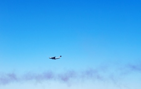 Airshow. Modern military jet for heavy cargo in the blue sky. Stok Fotoğraf
