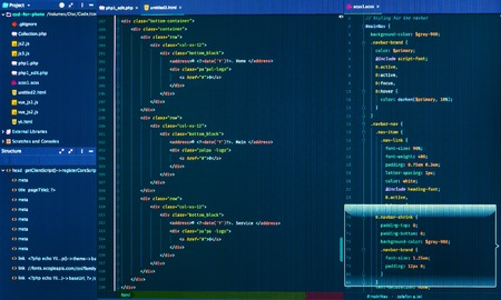 Splitting of html and css in the code editor, front view. Software development. Software source code. Programming code
