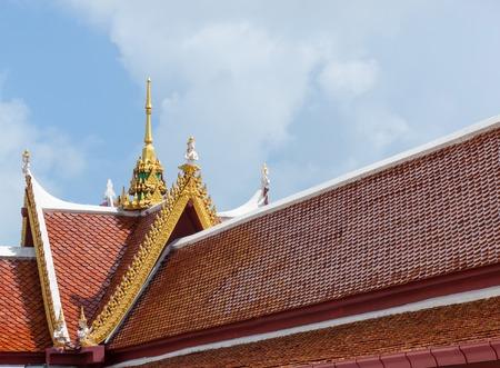 Close up of Thai tample roof, copy space