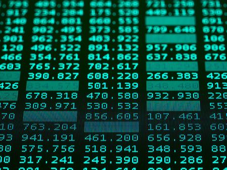 Stock market chart, Stock market data on LED display, macro