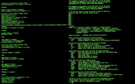 Green code in command line interface on black background, front view. UNIX bash shell