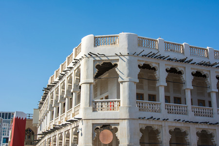 Two-storey Middle East traditional old building in Souq Waqif market in Doha
