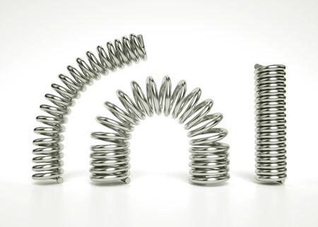 3D-Darstellung von flexiblen silbernen zylindrischen Federn mit konstantem und unregelmäßigem Intervall zwischen den Windungen. Set realistischer Metallfedern Standard-Bild