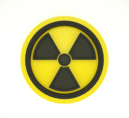 Nuclear symbol on white background. 3D Rendering of circular radioactive sign