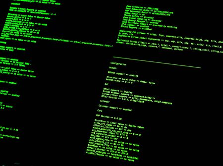 Computer Command Line Interface (CLI). Green code in command line interface on black background