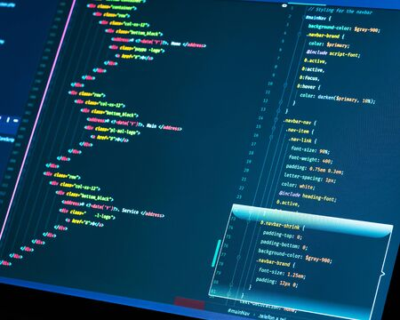 Css and html code on the screen  Web Design Concept  Technology