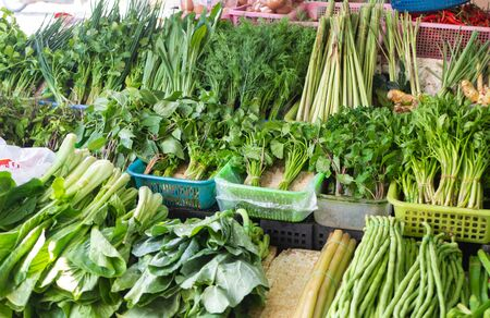 Greengrocery on sale at thai market - Chinese cabbage, mint, spinach, basil, Chinese Mustard Green, Eringium, black Eyed Peas Foto de archivo