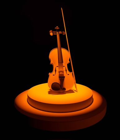 3d render of violin and bow on round podium in stage light on black background