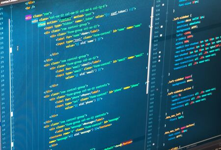 Css3 code on blue background, close up, cyberspace