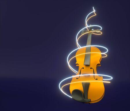 3d render of violin with spiral lights, copy space