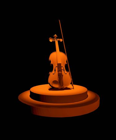 3D rendering of podium with violin and bow in spot light on black background. Solo performance