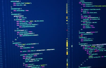 Javascript. Software programming code. Abstract computer script code. Java source code. Script language for software development Stock Photo