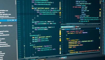 HTML web code. Javascript programming coding. Markup. Script language for software development