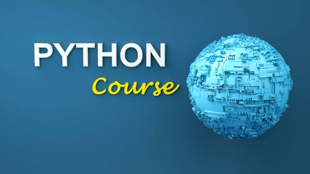 Python course 3d illustration. Concept of Python programming language online learning. Advertisement of Python online course. Elearning. Online learning banner.