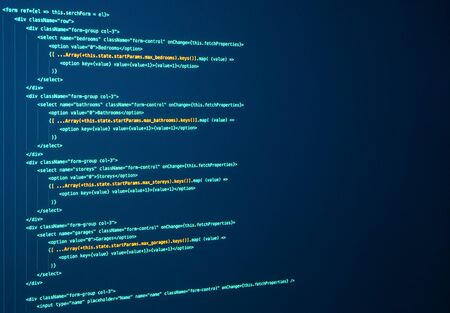 Javascript lines of code for website application. Script language for software development. Source code. React Coding. Frontend java code Stock Photo
