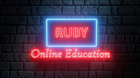 3D illustration of neon Ruby online education. Learn to code Ruby programming language. Glowing Ruby concept banner Stock Photo