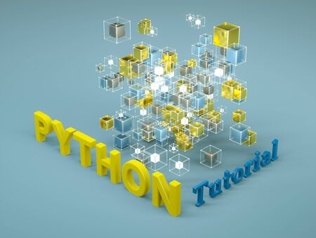 3d render of Python tutorial. Programming tutorial. Coding concept. Python language e-learning. Online education. Application development Stock Photo