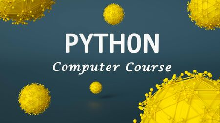 3d illustration of Python computer course. Programming language. Application and web development concept. E-learning Stock Photo