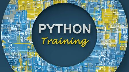3d rendering of advertising banner for Python Training. Concept of Python programming language online learning. Online education. E-learning