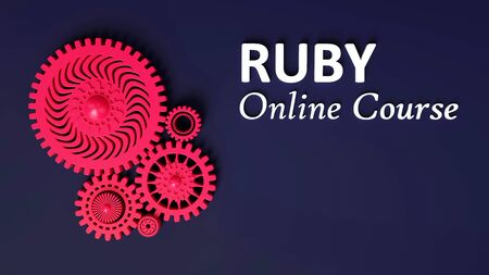 3D illustration of advertisement of Ruby online course with composition of red pink coral gears symbolizing cooperation and teamwork. Copy space. E-learning