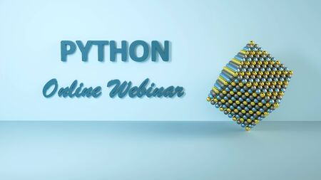 3D illustration of Python online webinar for advertisement. Online learning banner. Coding concept. Learn to code Python programming language. E-learning