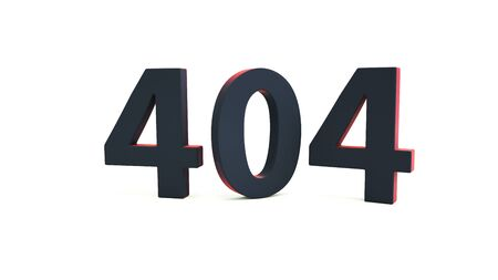 404 web page error message sign isolated on white. Computer network system problem. Webpage maintenance, Technical problem. 3d render Stock Photo