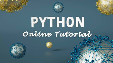 3d render of Python online training advertisement. Programming tutorial. Coding concept. Python language e-learning. Online education. Stock Photo