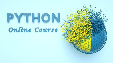 3D illustration of Python online course advertisement. Python language E-learning. Banner for Python computer course. Programming online training