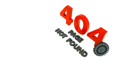 3d render of 404 error page with cog wheel. Page not found. Website under construction. Design for web page - disconnect banner for website Stock Photo