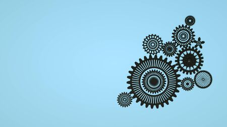 Abstract 3D Geometrical Design. Arrangement of black gears on blue background. Copy space. Minimal concept. 3d render. Concept of cooperation, business mechanism and teamwork.
