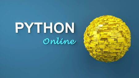 3d illustration of advertising banner for Python Online. Copy space. E-learning. Software development concept Stock Photo
