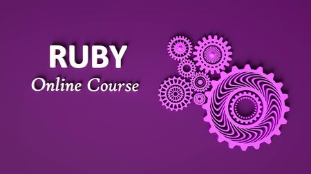 3D rendering of RUBY Online course with cogwheels in monochrome purple color. Copy space. Advertising signboard,violet banner. Ruby online learning. 3D illustration