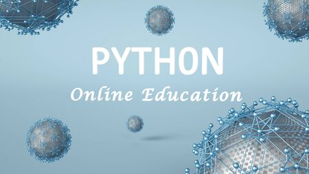 3d illustration of Python online education for advertisement. Online learning. Software development or application concept.